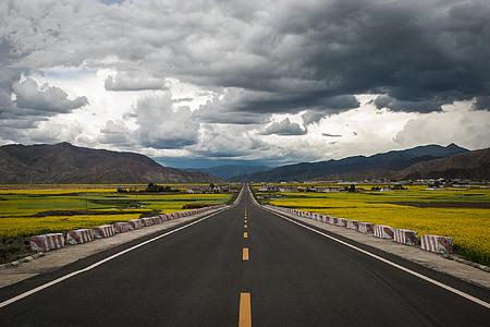 gray concrete road between grass fields under cumulus clouds