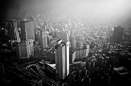 greyscale photography of city
