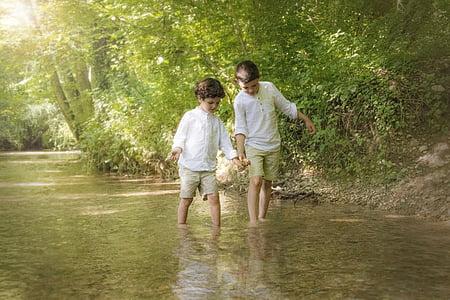 two boy's walking on water