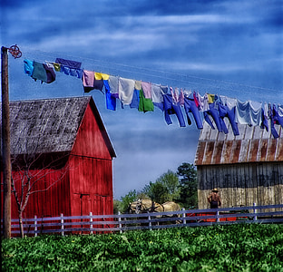assorted-color clothes hanging on wire in daytime