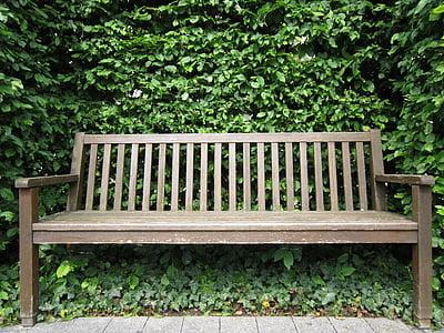 wooden bench near tree