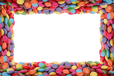 background, birthday, border, candy, chocolate buttons, colorful