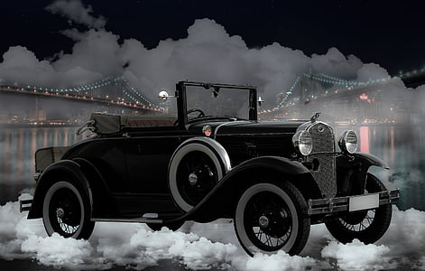 classic black convertible coupe