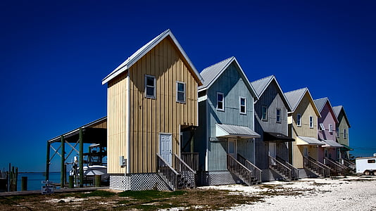 several wooden houses under blue sky