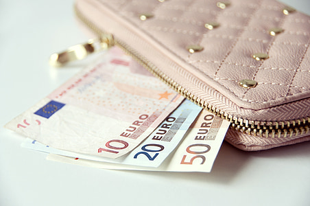 10, 20, and 50 Euro banknotes in pink wallet