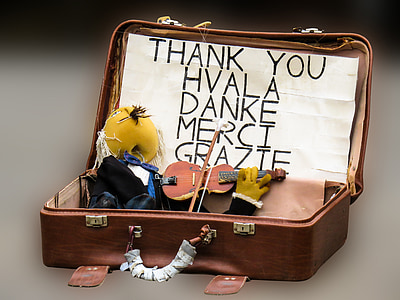 opened brown briefcase with miniature violin