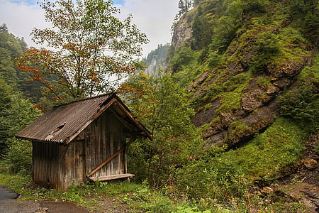 brown wooden shed near mountain cliff