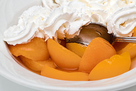 apricot, fruit, whipped cream, dessert, sweet, nutrition