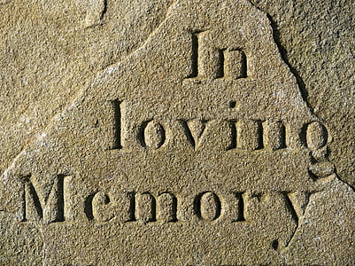 gray concrete with engrave in loving memory