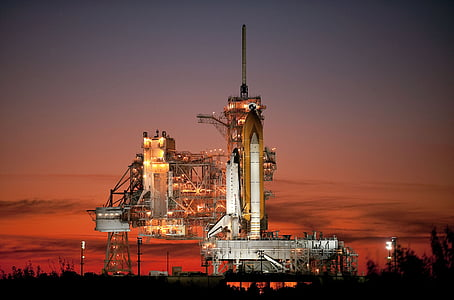 atlantis, space shuttle, rocket, launch pad, evening, night