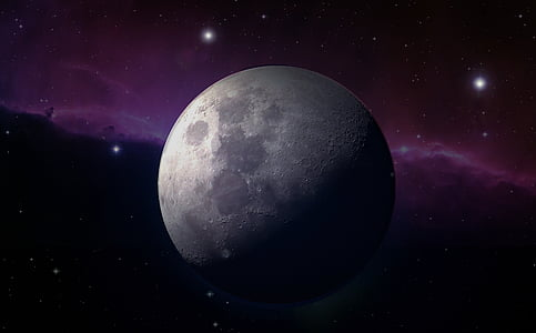 outer space photography of moon