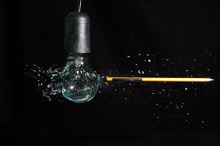 light bulb, light, fragile, pear, explosion