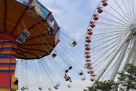 ferris wheel and swing ride