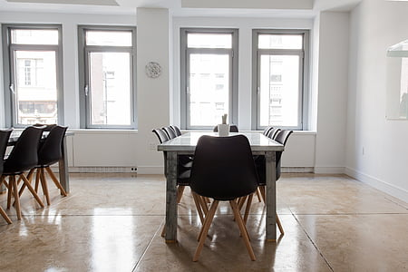 rectangular beige table and chair set