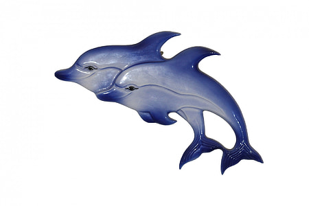 two blue dolphin figurine