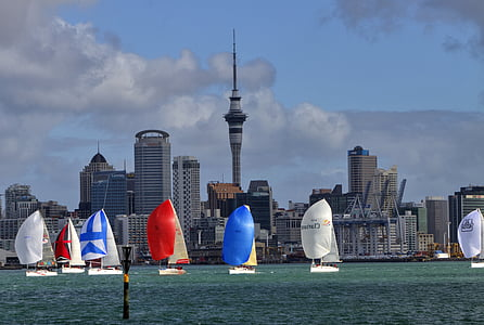seven assorted-color sailboats on body of water near high-rise buildings during daytime