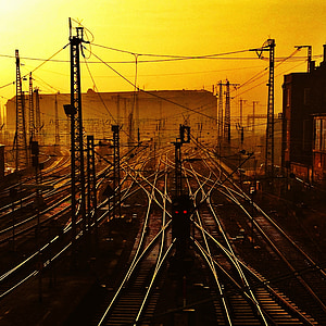 aerial view of train rails during golden hour
