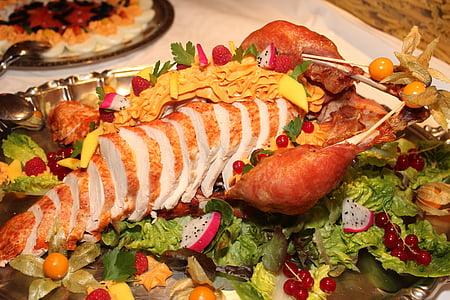 sliced turkey and vegetable salad