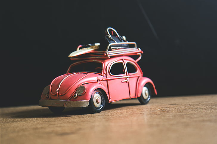red Volkswagen Beetle coupe die-cast metal scale model