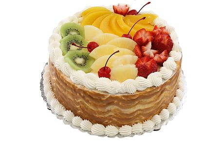 round cake on white background