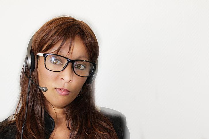 woman wearing black headset
