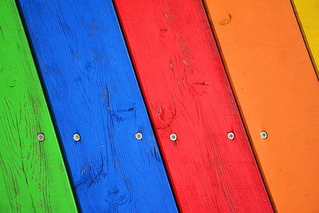 blue, red, and brown wooden board
