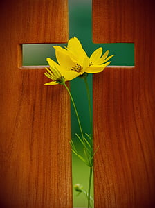 cross with yellow petaled flower print