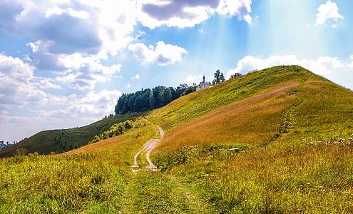 brown walkway on green mountain