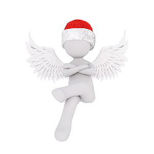 illustration of angel wearing santa hat