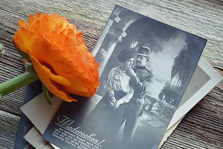 orange ranunculus on couples photo