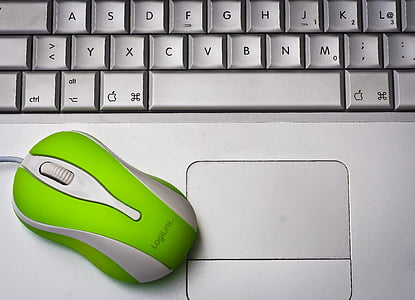 green and white LogiLink corded computer mouse