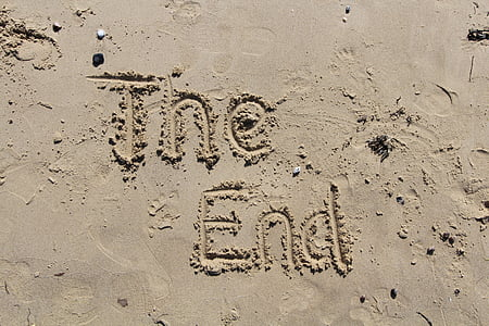 The End sand writing