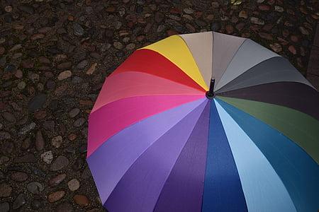 multicolored umbrella photo during daytime